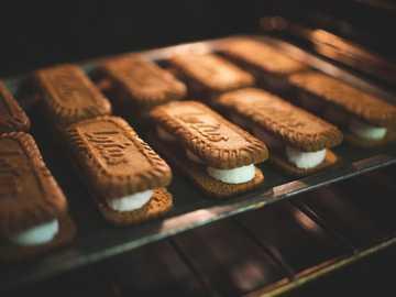 biscotti al cioccolato su vassoio in acciaio inossidabile - S'mores biscotti al loto e marshmallow.
