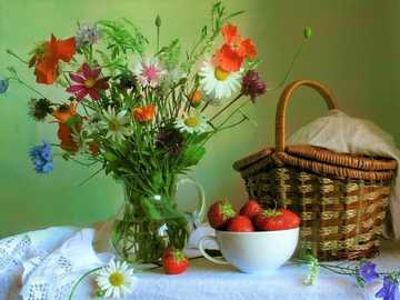 Flower Bouquet, Basket - A bouquet of flowers, a basket and a bowl