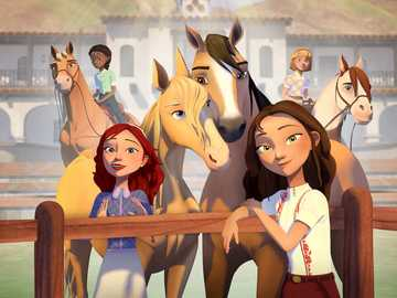 Spirit riding free Palomino bluffs - Spirit and Lucky Pru and Chica Linda Abigail and Boomerang Maricela and Mystery