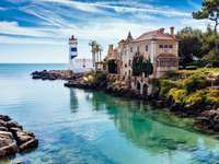 lighthouse, buildings on the water in portugal - m .......................