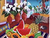 Exotic fruits - Fruits, flowers, house, sea, cat