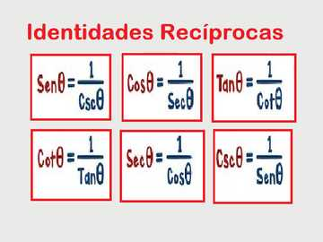 identidades recíprocas - Encontre as identidades trigonométricas recíprocas