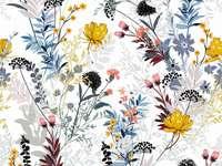 blommig tapet - fin tapet med färgglada blommor