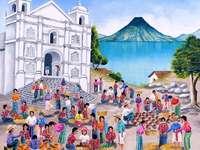 Devant l'église de San Pablo - Jose Antonio Gonzalez Escobar. Guatemala