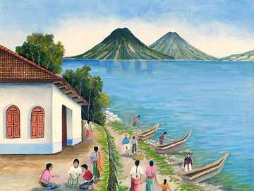 Cayucos à Lake Atitlan - Image de balise Jose Antonio Gonzalez Escobar