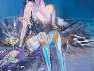 Acuarela - Bailarina sentada en el sofá