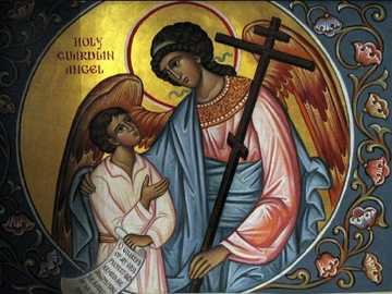 Guardian angel - the guardian angel with the child