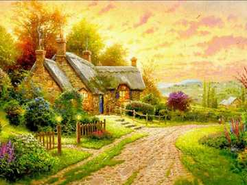 Painted village. - Art. Painting. Jigsaw puzzle.