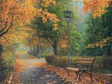No parque de outono. - Pintura. Quebra-cabeça.