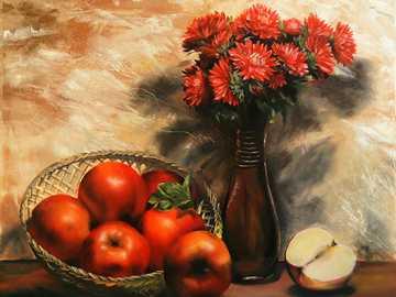 červená jablka - Jablka, květiny, košík, váza, zeď, stůl