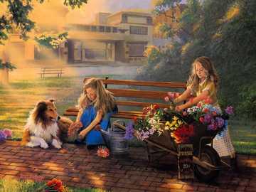 färska blommor - Flicka, hund, blommor, försäljning, hus