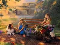 fresh flowers - Girl, dog, flowers, sale, house