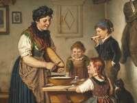 Dobrou chuť - Karl Hetz - farmářova žena připravuje jídlo