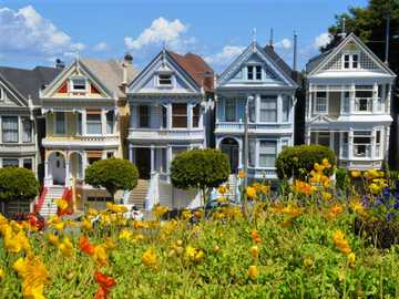 Colorful tenement houses, an alley with flowers - Colorful tenement houses, San Francisco