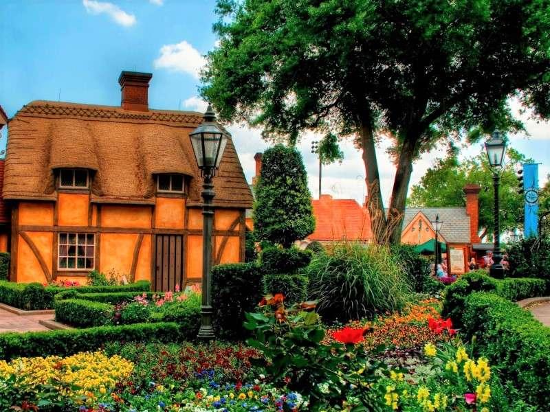 Une maison par une ruelle avec des fleurs - Cottages dans l'allée avec des fleurs (10×8)