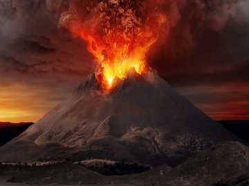 Vulcanul Vezuviu - Imagine de erupție a vulcanului Vezuviu