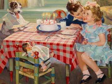 Grattis på födelsedagen - Barnens födelsedag, flicka, pojke, hund, tårta, docka