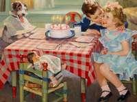 feliz cumpleaños - Cumpleaños infantil, niña, niño, perro, pastel, muñeca.