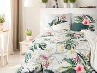 in the bedroom - beautiful floral bedding in the bedroom
