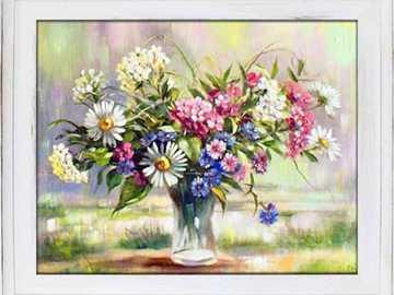 obrázek s květinami - malovaný obrázek s květinami