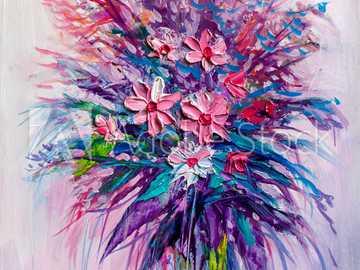 fialový obrázek - malovaný obrázek ve fialových barvách