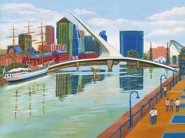 Paysage urbain - Aviko Szabo, peintre naïf argentin