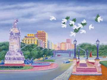 Paysage urbain - Aviko Szabo, peinture naïve argentine