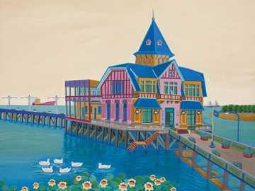 морски пейзаж - Авико Сабо, аржентински наивен художник