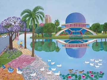 urban landscape - Aviko Szabo, naive painter