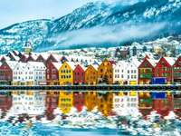 Nordic village on the sea - Alaska colored with sea and ice
