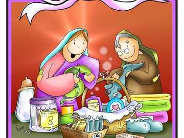 Maria ajuda sua prima Elizabeth - María ajuda a prima Isabel a se preparar para o nascimento de Juan.