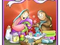 Maria segít unokatestvérének, Elizabethnek