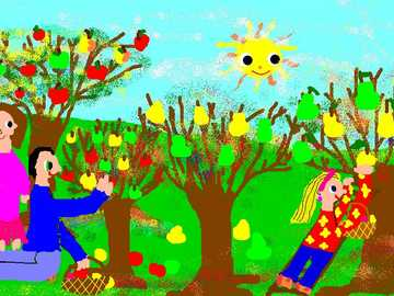 autumn in the orchard - trees, children, apples, happiness