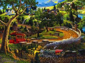 Рисувано село. - Пъзел. Живопис.