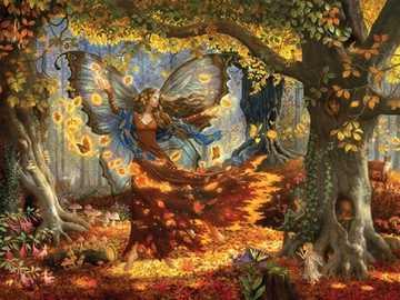 Outono na pintura. - Pintura. Quebra-cabeça.