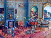 La habitacion azul - La habitación azul, muebles, alfombra, flores.