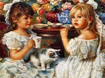 To drink tea - Girl, cat, flowers, tea, dishes