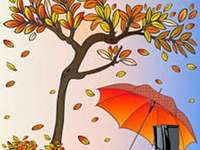 ilustração - folhas caídas de outono