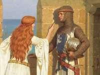 Edmund Blair Leighton: a sombra - Mulher, homem, cavaleiro, castelo, sombra, amor
