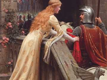 Edmund Blair Leighton: God Speed - Middeleeuwen, ridder, paard, pantser