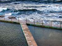 Rock Pool - brown dock near body of water at daytime. Collaroy Beach, Australia
