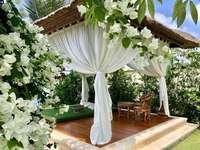 A beautiful gazebo in the flower garden - A beautiful gazebo in the flower garden