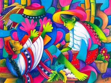 sage-femme, peinture naïve - Julian Coche Mendoza
