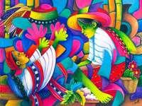 midwife, naive painting - Julian Coche Mendoza