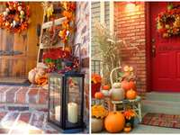 autumn decorations with pumpkins and flowers - m ........................