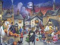 Halloween - Halloween, houses, people, costumes
