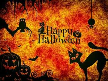 Happy Halloween - Orange Happy Halloween image with cats, pumpkins and an owl