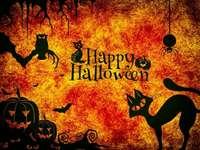 Glad Halloween - Orange glad Halloween-bild med katter, pumpor och en uggla