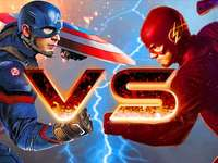 Captain américa VS  flash - It is a game between the kids