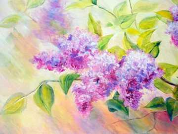 šeříky v malbě - olejomalba s lila tématem
